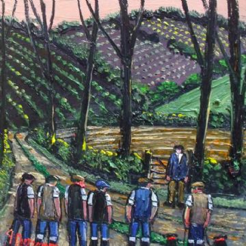 James Downie Original Oil Painting The Farm Workers